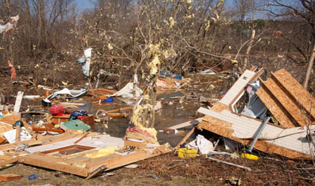 Home destroyed by F2 tornado
