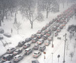 Traffic jam in a blizzard